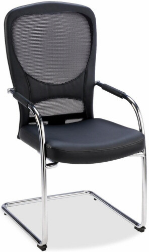 Lorell Mesh Back Guest Chair with Bonded Leather Seat [69517] -1