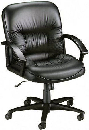 Lorell Mid Back Tufted Leather Desk Chair [60115] -1