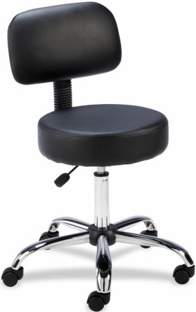 Lorell Vinyl Round Stool with Back [69511] -1