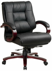 Mid Back Mahogany Finish Leather Upholstered Chair [8501] -1