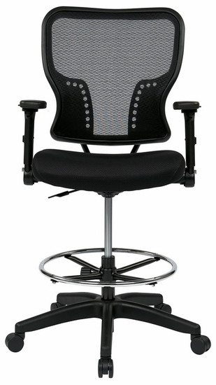 Mesh Drafting Chair with Adjustable Flip Arms [213-37N2F3D] -1