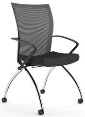 Valore Mesh Back Nesting Chair with Arms [TSH1] -Black
