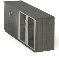 Mayline Medina Low Wall Cabinet, Wood / Glass Doors Gray Steel [MVLCLGS]-1