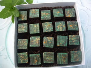 Mint Cubed, 20-piece box, dark chocolate ganache