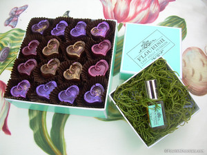 Flourish Hearts, 16 piece box with FLOURISH Pure Parfume Oil