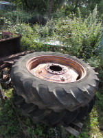 Nuffield DM4 Pair used 11x36 8 stud wheels and tyres from sliding hub model. Tyres old but hold air Rims ok.  UP370
