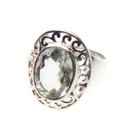 Green Amethyst Ring Size 7.25 #0481