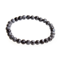 Snowflake Obsidian Stretch Bracelet with 6mm Beads #0503