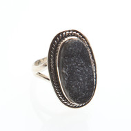Black Agate Druzy Ring Size 7 #0530