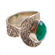 Green Onyx Ring Size 11 Adjustable #0646