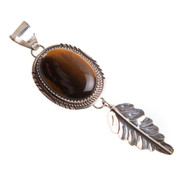 Tiger Eye Native American Feather Pendant #0769