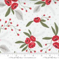 Moda Fabric - Christmas Morning - Lella Boutique - Snow Blossoms Modern Floral Holly Focal Snow #5140 11