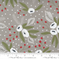 Moda Fabric - Christmas Morning - Lella Boutique - Snow Blossoms Modern Floral Holly Focal Dove #5140 13