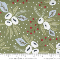 Moda Fabric - Christmas Morning - Lella Boutique - Snow Blossoms Modern Floral Holly Focal Pine #5140 15