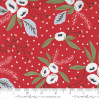 Moda Fabric - Christmas Morning - Lella Boutique - Snow Blossoms Modern Floral Holly Focal Cranberry #5140 16