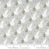 Moda Fabric - Christmas Morning - Lella Boutique - Lovey Dovey Bird Dove Peace Silver #5141 12