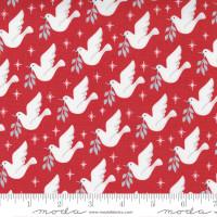 Moda Fabric - Christmas Morning - Lella Boutique - Lovey Dovey Bird Dove Peace Cranberry #5141 16