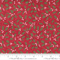 Moda Fabric - Christmas Morning - Lella Boutique - Holly Jolly Sprig Blender Holly Greenery Cranberry #5142 16