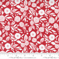 Moda Fabric - Christmas Morning - Lella Boutique - Winter Flora Blender Floral White and Red Cranberry #5143 16