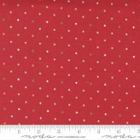 Moda Fabric - Christmas Morning - Lella Boutique - Magic Dot Multicolored Cranberry #5147 16