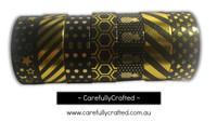 Foil Washi Tape - Set of 7 - Black & Gold Washi Tapes - 15mm x 10 metres each - High Quality Masking Tape