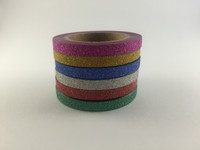 Thin Glitter Washi Tape - Set of 6 - Washi Tapes - 5mm x 5 metres each - High Quality Masking Tape