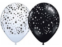 Black and White Star Balloon - (28cm/11 inches) - Set of 5