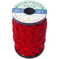 Riley Blake Designs - Lori Holt of Bee in my Bonnet - Large Vintage Trim - Riley Red - 3/8 inch (8mm) x 12 Yards