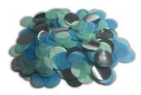 1/2 Cup Tissue Paper Confetti - Aqua, Blue and Silver Foil - 1 inch Circles