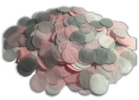 1/2 Cup Tissue Paper Confetti - Pink, Grey and White - 1 inch Circles