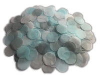 1/2 Cup Tissue Paper Confetti - Blue, Grey and White - 1 inch Circles