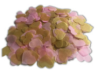 1/2 Cup Tissue Paper Confetti - Pink and Gold - 1 inch Hearts