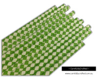 25 Paper Straws - Green and White Diamonds - #PS15