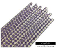 25 Paper Straws - Purple and White Diamonds - #PS17