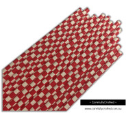 25 Paper Straws - Red Checkerboard - #PS20