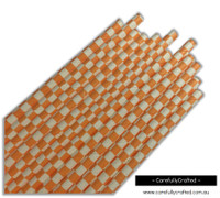 25 Paper Straws - Orange Checkerboard - #PS22