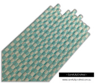 25 Paper Straws - Light Blue Checkerboard - #PS23