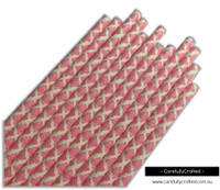 25 Paper Straws - Hot Pink Demask - #PS24