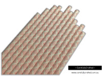 25 Paper Straws - Light Pink Demask - #PS25