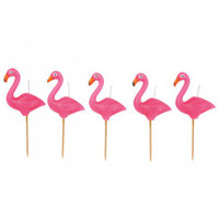 Flamingo Cake Candle 5 Set - Hot Pink