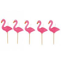 Flamingo Cake Candle 5 Set - Hot Pink