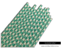 25 Paper Straws - Aqua Checkerboard - #PS27