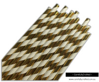 25 Paper Straws - Gold Foil Stripe - #PS31