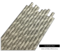 25 Paper Straws - Grey Design - #PS32