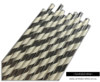 25 Paper Straws - Silver Foil Stripe - #PS33