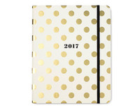 Kate Spade NY 2017 17 month Large agenda - Gold Polka Dots