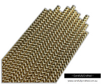 25 Paper Straws - Chevron Gold Foil - #PS36