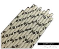 25 Paper Straws - Silver Foil Polka Dot - #PS37
