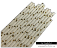 25 Paper Straws - Gold Foil Stars - #PS39