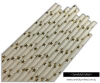 25 Paper Straws - Gold Foil Stars - #PS39